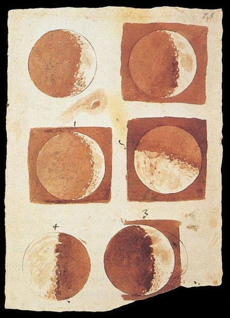 Fazele lunii desenate de Galileo Galilei 1616